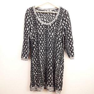 Moth black & gray 3/4 sleeve wool cotton dress